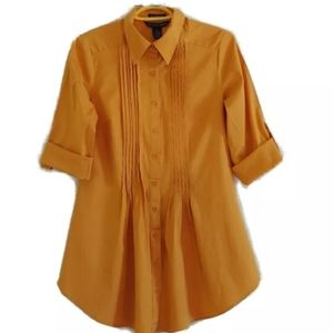 Antilia Femme Yellow Pleated Lapel Button up